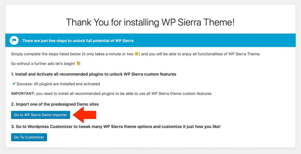 Importing Demo Content - WP Sierra Theme Documentation